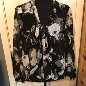 Black and white floral tie blouse